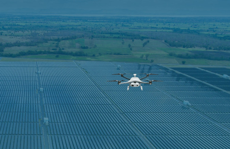 Inspection of solar panels using drones
